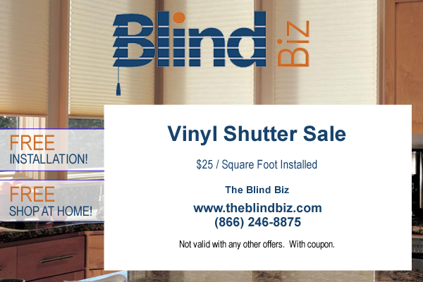 Vinyl Shutter Sale $25 / Square Foot Installed